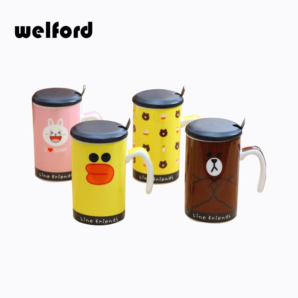 Cartoon ceramic coffee mug cup Brown Bear Bunny rabbit tea milk mug zakka Hand Painting water cup with lid spoon Christmas gift
