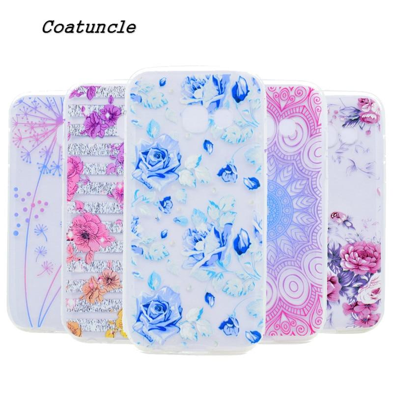 Transparent TPU soft Case For Samsung Galaxy J1 Mini Prime J2 J3 J5 J7 Prime Back Cover Silicone rose Painted Pattern Phone case