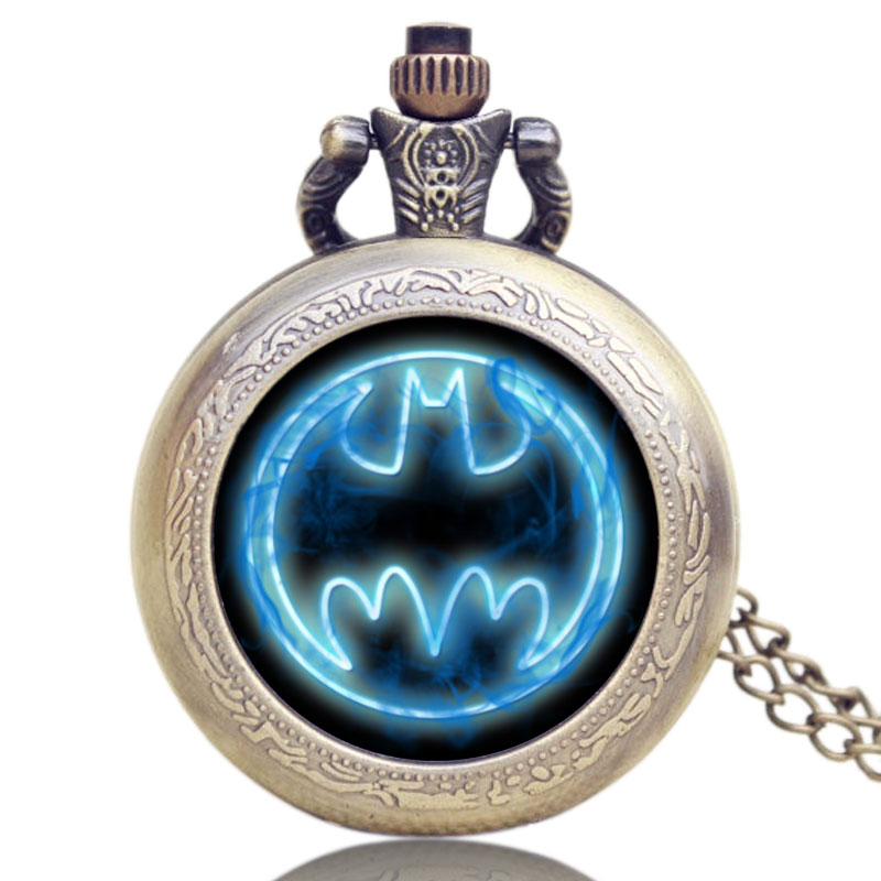 Pocket Watch Blue Batman Movie Theme Extension Brass With Bronze Necklace Chain Children Kids Man Woman Personality Accessories