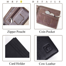 LONGXIOR Genuine Leather Men Wallet RFID Blocking Wallet Men Fashion Cow Leather Purse Identity Protection Men's Wallets MRF7