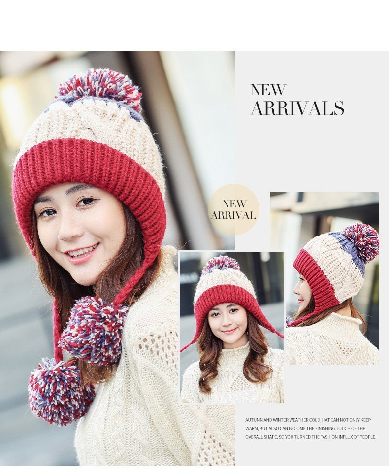 a8c76673c Seioum simple Rabbit hair Winter Hat Female Autumn and winter Fashion Women  s Female Toe Cap New big pompom Warm girls knit hat