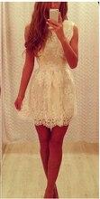 2015 Fashion Sleeveless Ribbon Sash Lace Mini Cocktail Dresses Short Prom Gowns Custom Made vestidos de fiesta C45
