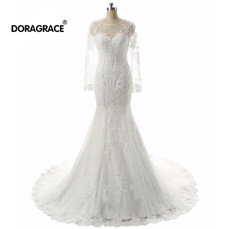 Doragrace Real Photo vestidos de noiva 3/4 Sleeve Mermaid Plus Size Wedding Dresses Bridal Gowns