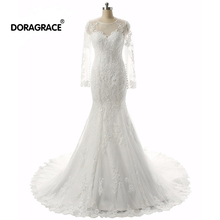 Doragrace Real Photo vestidos de noiva 3/4 Sleeve Mermaid Plus Size Wedding Dresses Bridal Gowns