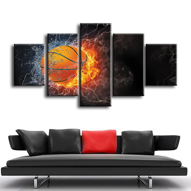Wholesale 5 pieces Framed Canvas Print Modern Abstract basketball series Painting Home Decoration Free shipping ZT 3 32 in Painting Calligraphy from Home Garden