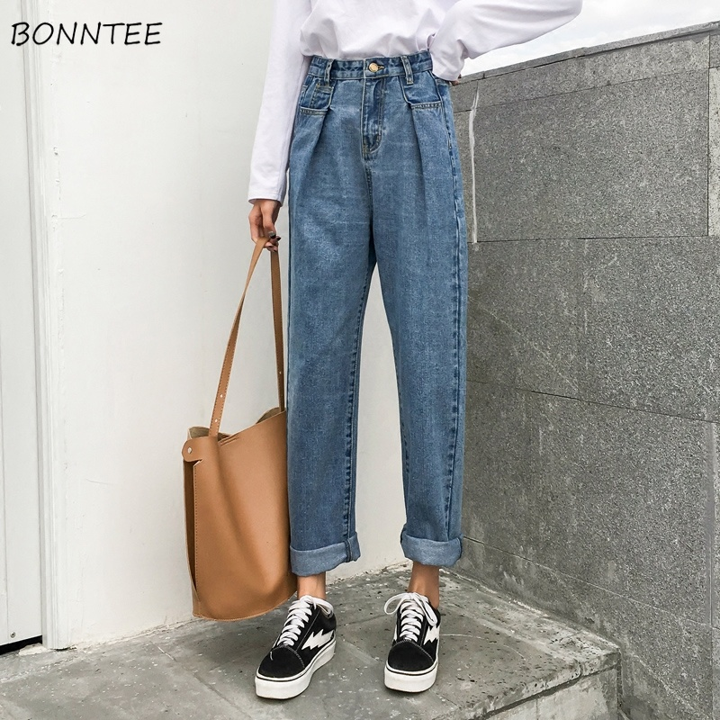 Jeans   Women High Denim Spring Autumn 2019 Trendy Plus Size Womens Pockets Pleated Leisure Graceful Female Slim Trouser All-match