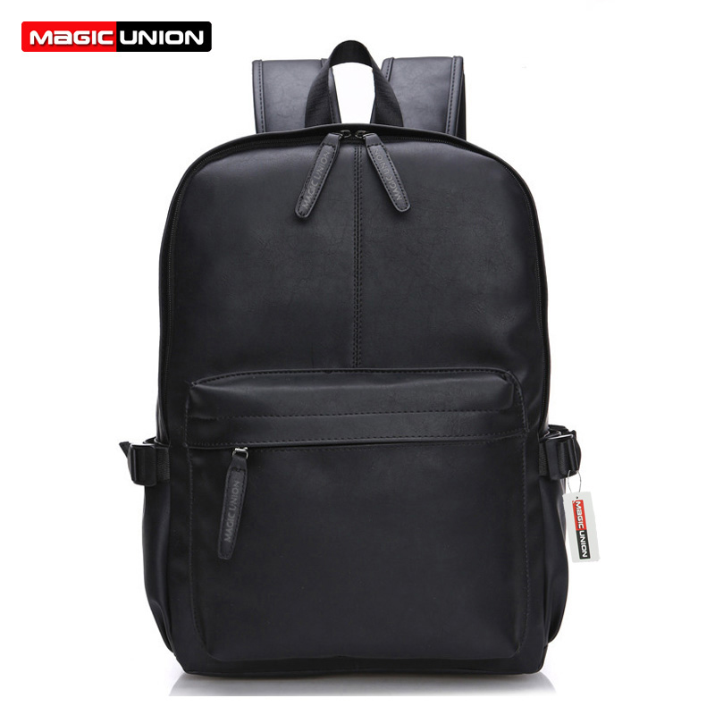 MAGIC UNION Oil Lamin Leather Backpack For Men Travel Backpacks Reka bentuk Gaya Barat Kulit Sekolah Backpack Mochila Zip