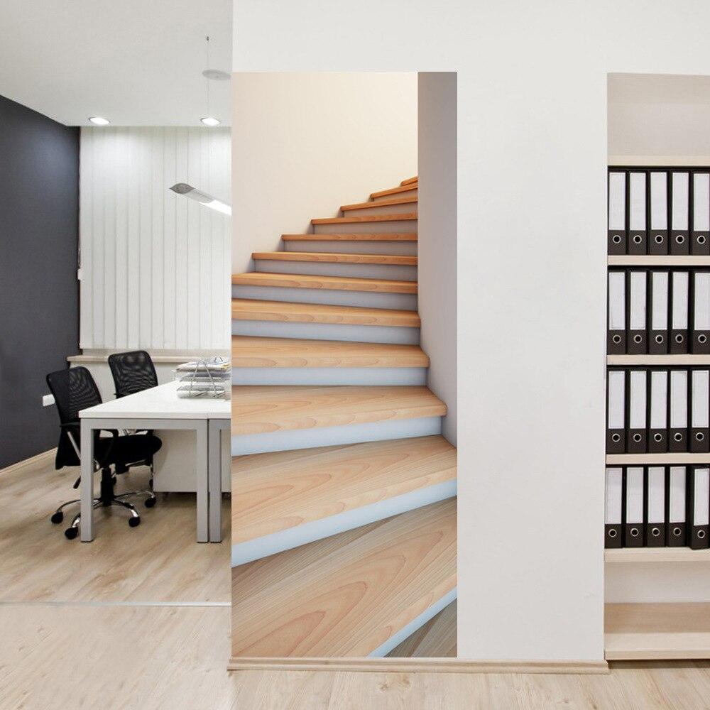 US $20.52 28% OFF Selbstklebende 3D Tapeten Tür Wand Kühlschrank Aufkleber  PVC Abnehmbare Treppen Abziehbilder Treppe Drucken Tapete Hause Wohnzimmer  ...
