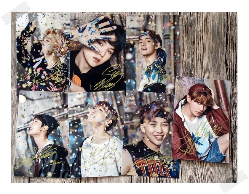 BTS autographed signed  photo You Never Walk Alone 7 photos set  10*15cm 4*6inches freeshipping new korean  02.2017  A got7 got 7 jb autographed signed photo flight log arrival 6 inches new korean freeshipping 03 2017