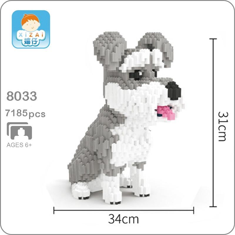Xizai 8033 dessin animé Schnauzer gris chien Animal de compagnie modèle 3D bricolage Mini Micro blocs de construction briques assemblage jouet 31 cm de hauteur sans boîte