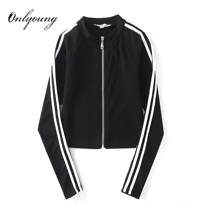 Onlyoung 2018 Autumn New Arrival   Basic     Jackets   Side Striped Casual Outwear Short Black Women   Jackets   and Coats