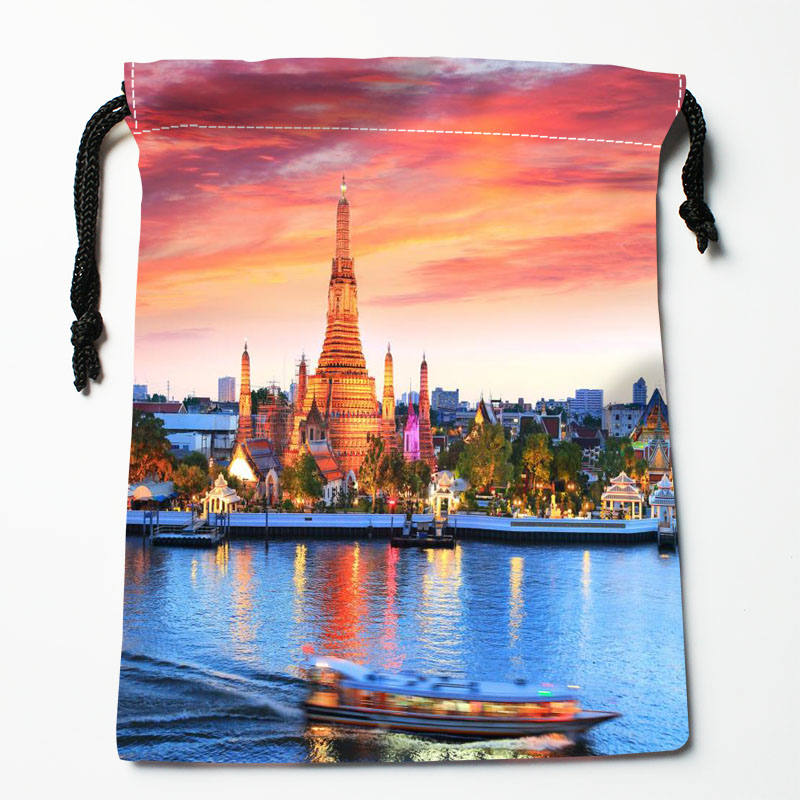 High quality Custom Bangkok printing storage bag drawstring bag gift Satin bags 27x35cm Compression Type Bags