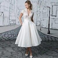 С v образным вырезом аппликации с кружевом длиной выше колена Короткие свадебные платья прозрачные трапециевидные Свадебные платья Vestido De