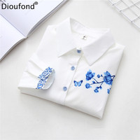 Dioufond White Women Floral Print Formal Blouses Casual Long Sleeve Ladies Office Shirt White Cotton Flower