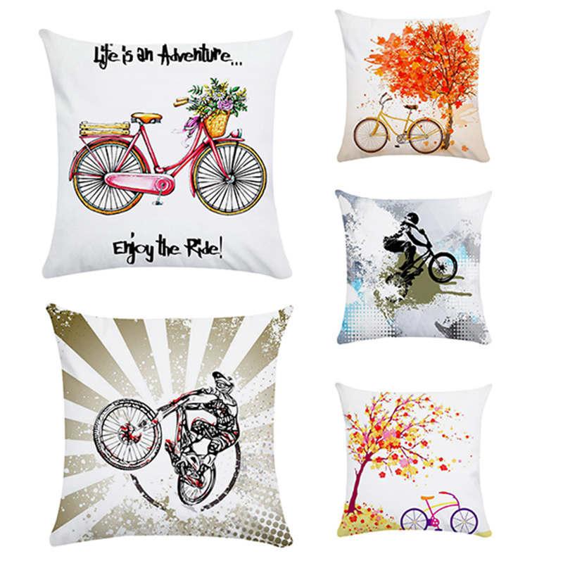 Cushion, Vintage Bike HomerDecor Cushion Cover Throw  Pillowcase Pillow  Covers 45 * 45cm Sofa Seat Cushion Decorative