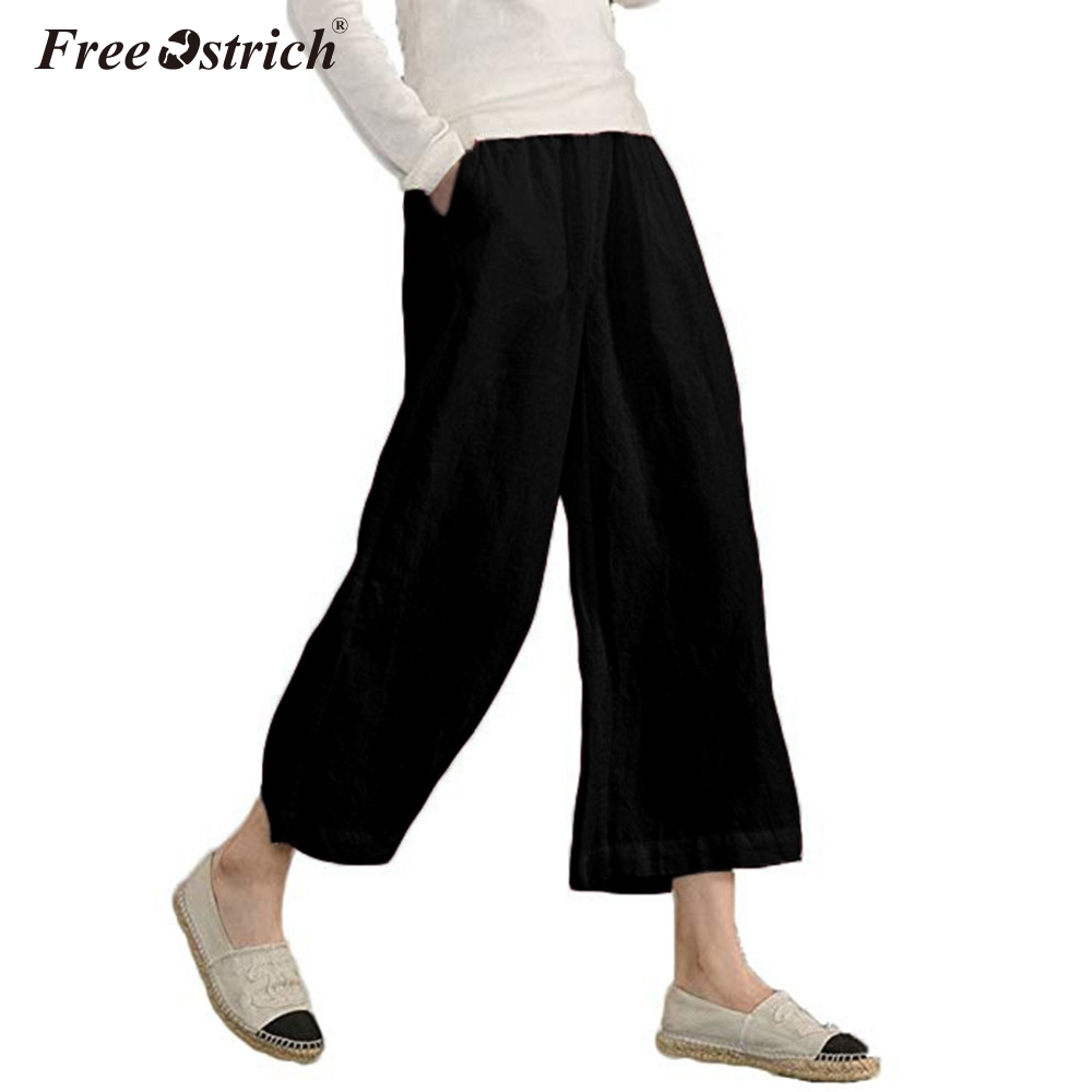 Free Ostrich 2019 Summer   Wide     Leg     Pants   Women Plus Size High Waist Solid Loose Palazzo   Pants   Elegant Casual Ladies Trousers