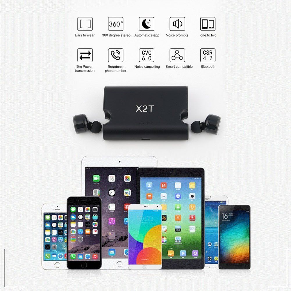 X2T mini wireless earphone noise canceling headphone bluetooth headset with 1500mAh power bank box for iphone 8/android dbigness sport running bluetooth earhook headphone mini wireless earphone stereo noise canceling auricular for xiaomi iphone