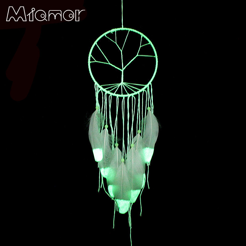 MIAMOR Official Store Fashion Gift India Tree of Life Fluorescence Dreamcatcher Noctilucous Wind Chimes  Hanging Pendant Dream Catcher Regalo BMW078