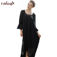 Fdfklak Sexy Bride Lingerie Long Nightgown Sleepwear Spring Summer Lace Nightdressing Gown Modal Long Nightgown Sleepwear Q855