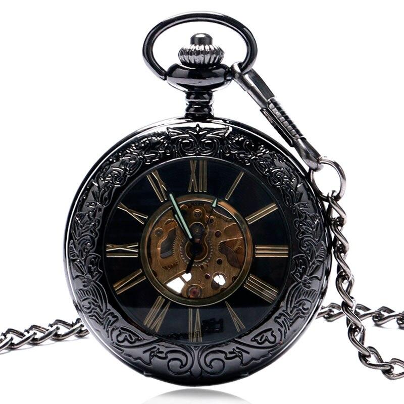 Vintage Watches Roman Black Pattern Glass Case Mechanical Pendant Pocket Watch Necklace Fob Clock Woman Man Birthday Gift