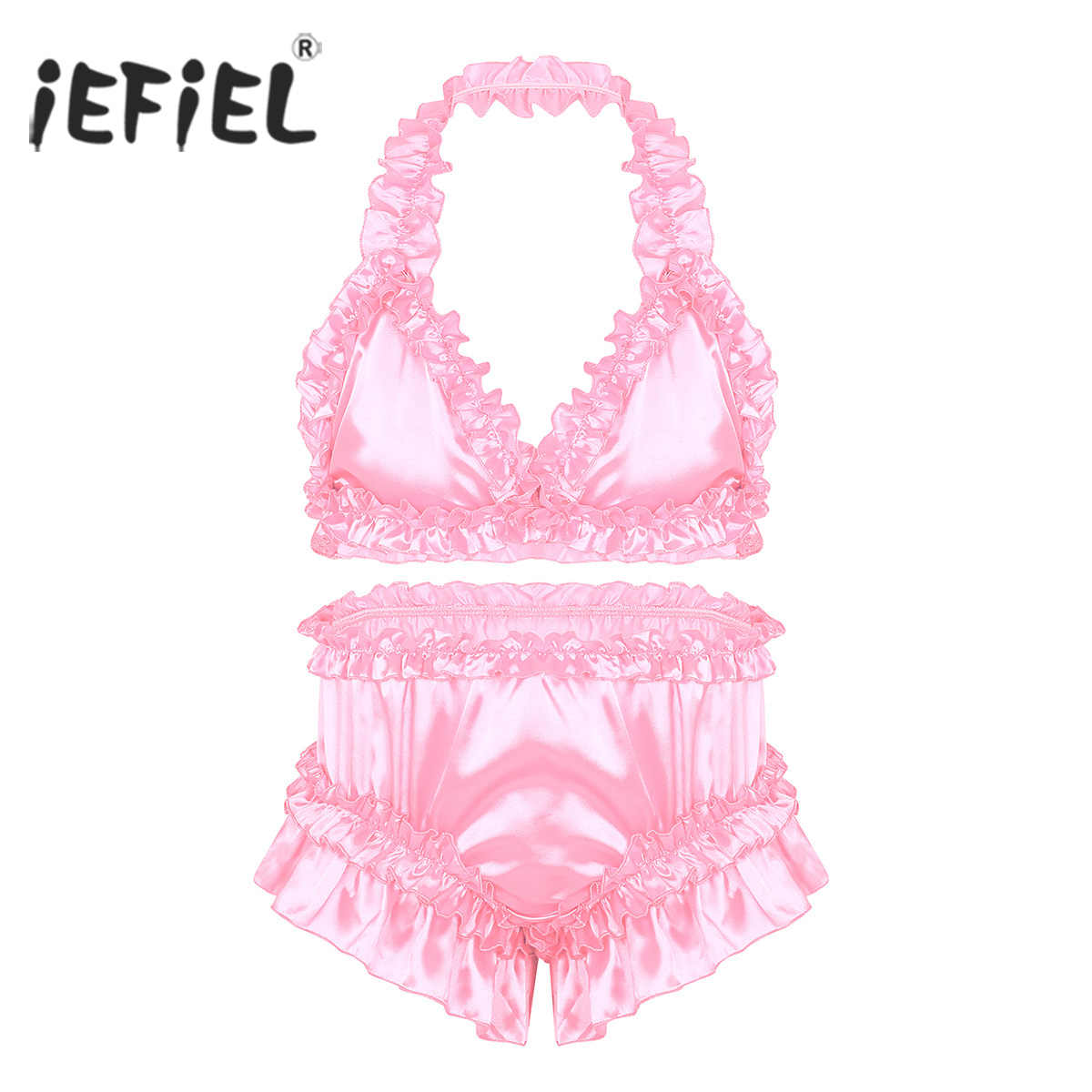 Mens Sissy Panties Satin Frilly Ruffled Lingerie Set Full Cut Bra Tops with  Knickers Bloomers Briefs