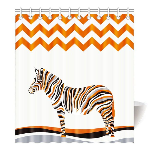 Colorful Zebra Orange Black White Shower Curtain Printing Waterproof Mildewproof Polyester Fabric Bath Bathroom