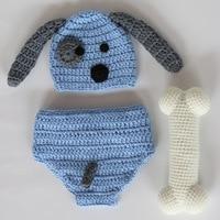 2017 Newborn Photo Porps Handmade Knit Animal Dog Cap +Diaper Set + Bones Clothes Costumes Baby Photography Props