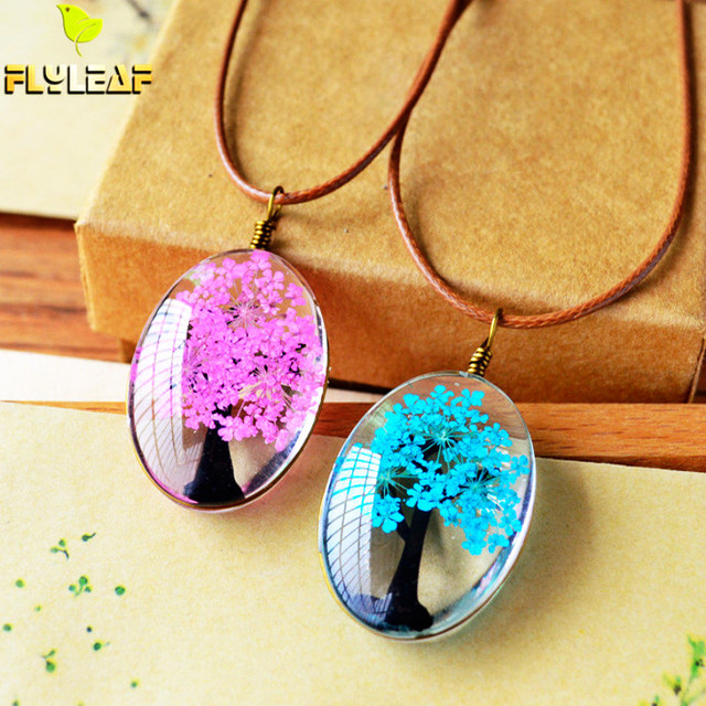 Flyleaf 2017 Handmade Natural Dry Flowers Life Tree Long Necklaces & Pendants Fo