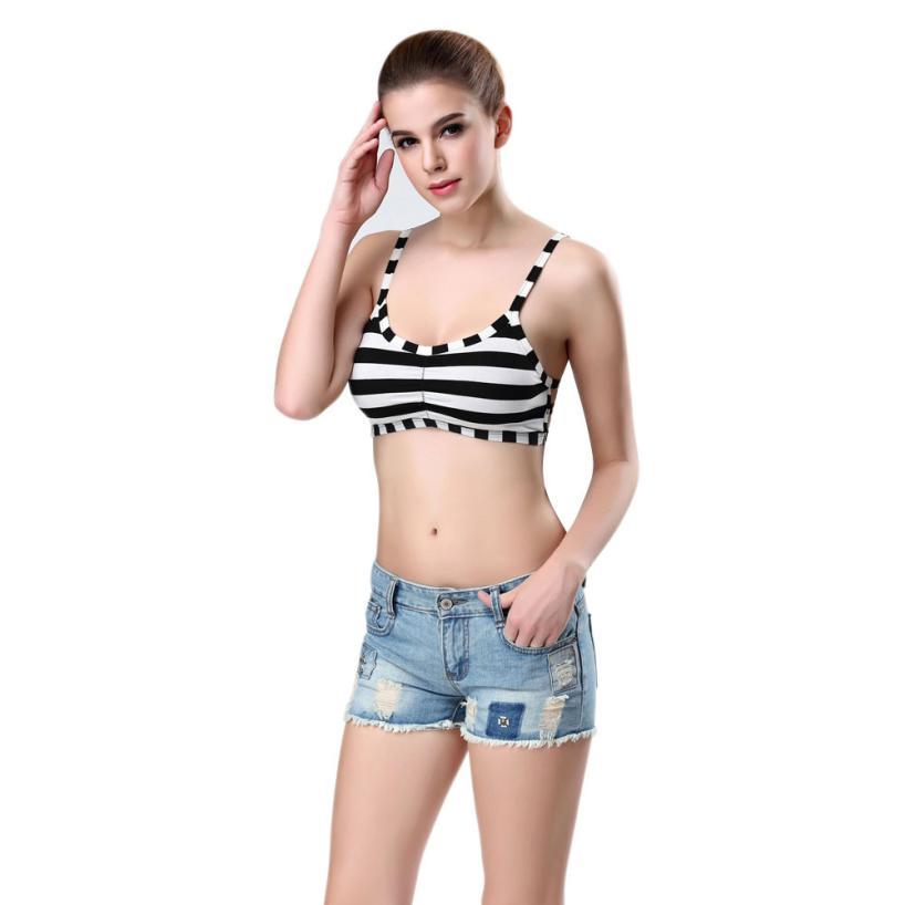 #5 2019 Neue Heiße Mode Sexy Frauen Streifen Bralette Bustier Bustier Crop Top Tank Tops Bh Sexy Dessous Mini Freies Schiff Weder Zu Hart Noch Zu Weich