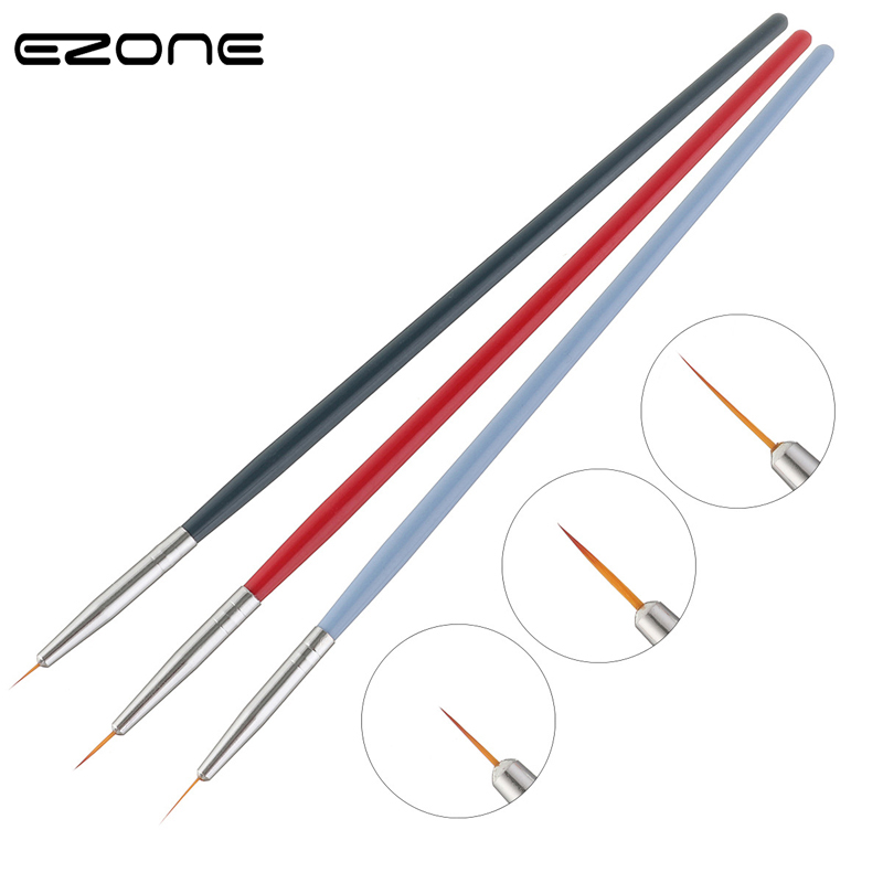 EZONE 3PCS/Set Paint Brush Wood Handel Nylon Hair Nail Art Hook Line Pens Watercolor Oil Gouache Acrylic Painting Art Tools