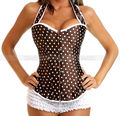 Brown Polka Dots Halter Corset Outerwear Lace up Bustier Top S M L XL 2XL