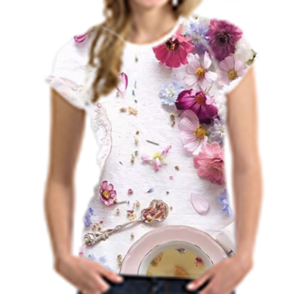 Customized Wome Causal Europe Style Pink Floral Printed T Shirt Wholesale Summer Elastic Short Sleeve T Shirt S-XXL
