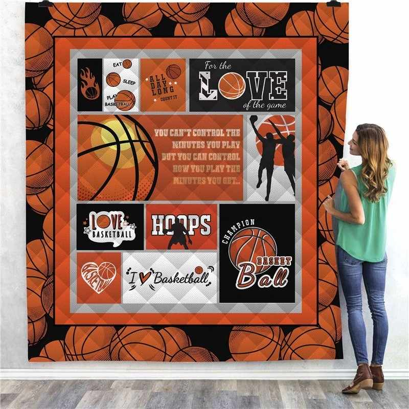 Dropshipping Basketball Baseball Print Quilt Kids School Adults Bed Soft PicnicThin Blanket Cotton Quilt King Size Custom
