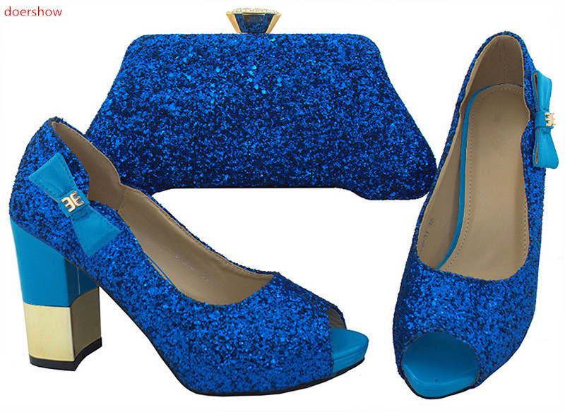 doershow latest New Arrival  Blue Shoes And Bag Sets Italian Ladies Pumps Shoes And Bags To Match Set For Party Dress SWR1-7doershow latest New Arrival  Blue Shoes And Bag Sets Italian Ladies Pumps Shoes And Bags To Match Set For Party Dress SWR1-7