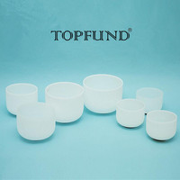 TOPFUND Chakra Tuned Set Of 7pcs Frosted Crystal Singing Bowl 12 E F 10 C 9