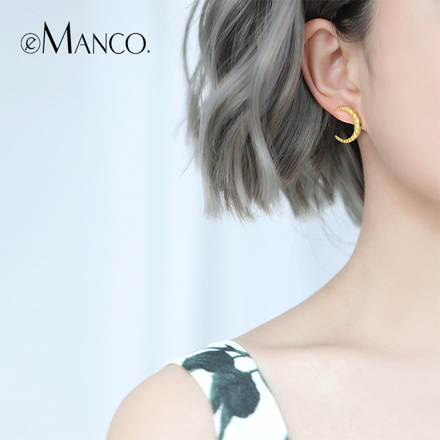 e-Manco Gold Moon Stud Earrings 925 Silver Crescent Moon Earrings For Women Fine