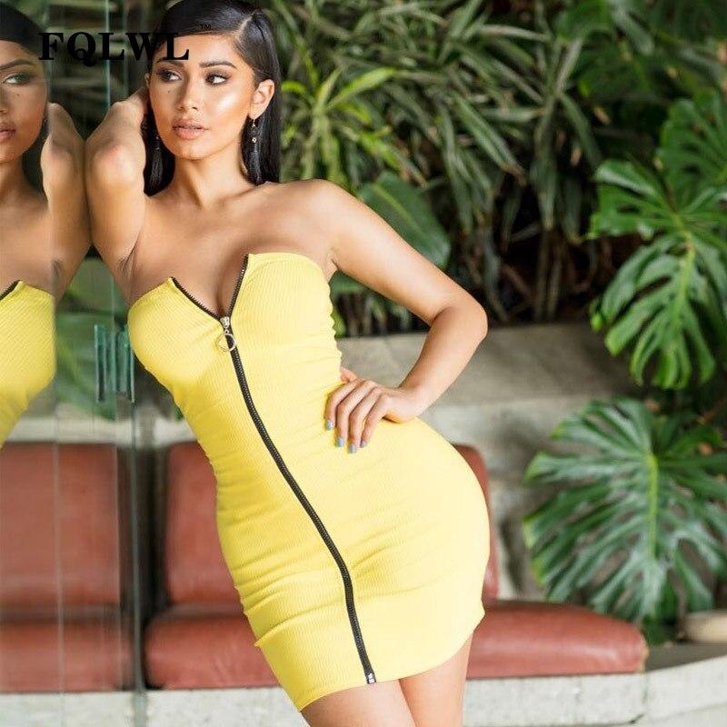FQLWL Off Shoulder Strapless Summer Dress Women Tube Top Yellow Zipper Stretch Bodycon Mini Desses Clubwear Dresses Vestidos