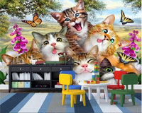 Beibehang Cute Fashion Wallpaper On The Grass A Group Of Cats Self Portrait Like Children S