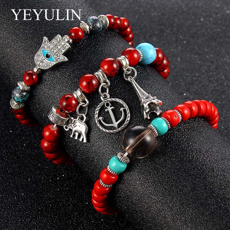 3pcs /set Alloy Hand Of Fatima Eiffel Tower Charms Stone Bead Bracelet Woman Girls Natural Stone Elastic Bracelet Jewelry Gift
