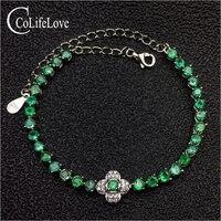 Простой дизайн Изумрудный Серебряный браслет для свадьбы 31 шт. 3 мм SI сорт натуральный изумруд браслет одноцветное Серебро 925 Изумрудный юве