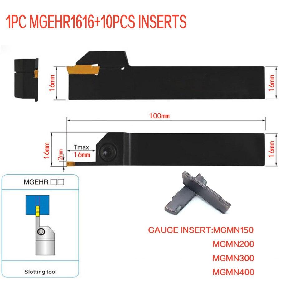 1 PZ Bareno + 10 PZ Inserti di Scanalatura MGEHR1616-1.5 MGEHR1616-2 MGEHR1616-3 MGEHR1616-4 16mm picciolo Tornitura CNC strumento