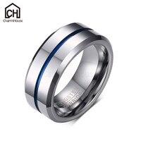 Persönlichkeit Blaue Linie Runde Ring für Männer Hartmetall Ringe Mode Männlichen Schmuck Accessoires Geschenke für Mann Bague Homme Anel