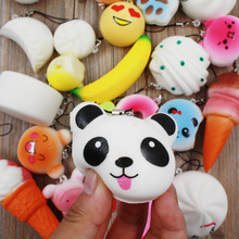 Phone Strap 30pcs DIY Soft Funny Squishy Slow Rising Squeeze Cute Panda ice Cream Toast Cake Bread Straps For iPhone 7 6 6s
