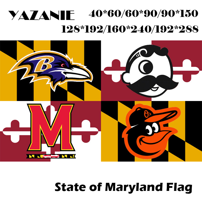 Yazanie 60 90cm 120 180cm 160 240cm 192 288cm Large Maryland State Polyester Flag American Usa Sports World Print Flags Banner Flags Banners Accessories Aliexpress