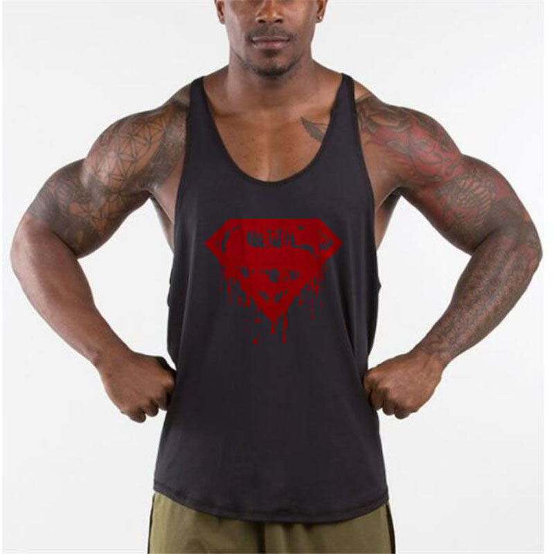 Bloody Superman Cotton Mens   Tank     Tops   Bodybuilding Stringer 1cm shoulder strap gyms vest Fitness Sexy Workout Tee shirt