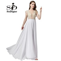 Evening Dress 2017 SoDigne New Arrival Long Formal Dress White Chiffon Gala Dress A Line Prom Party Gown Sheer Top Appliques