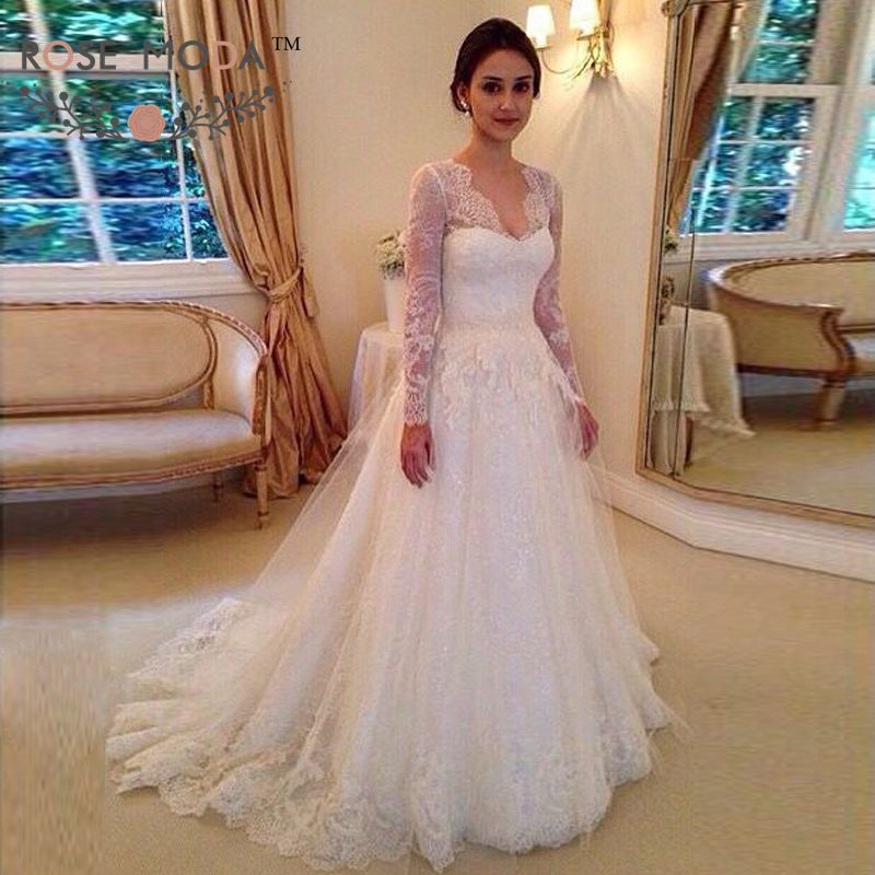 A Line Wedding Gown With Sleeves: Deep V Neck Long Sleeves Lace A Line Wedding Dress