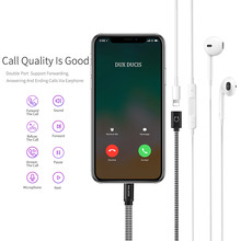 2 in 1 Audio Charging Cable for iPhone X 8 7 Plus Fast Charger Adapter for Lightning Dual Port Converter 1m