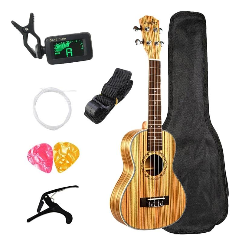 Concert ukulélé 23 pouces hawaïen Zebrawood débutant Uke 4 cordes guitare acoustique ukulélé guitare avec sac envoyer des cadeaux Musical S