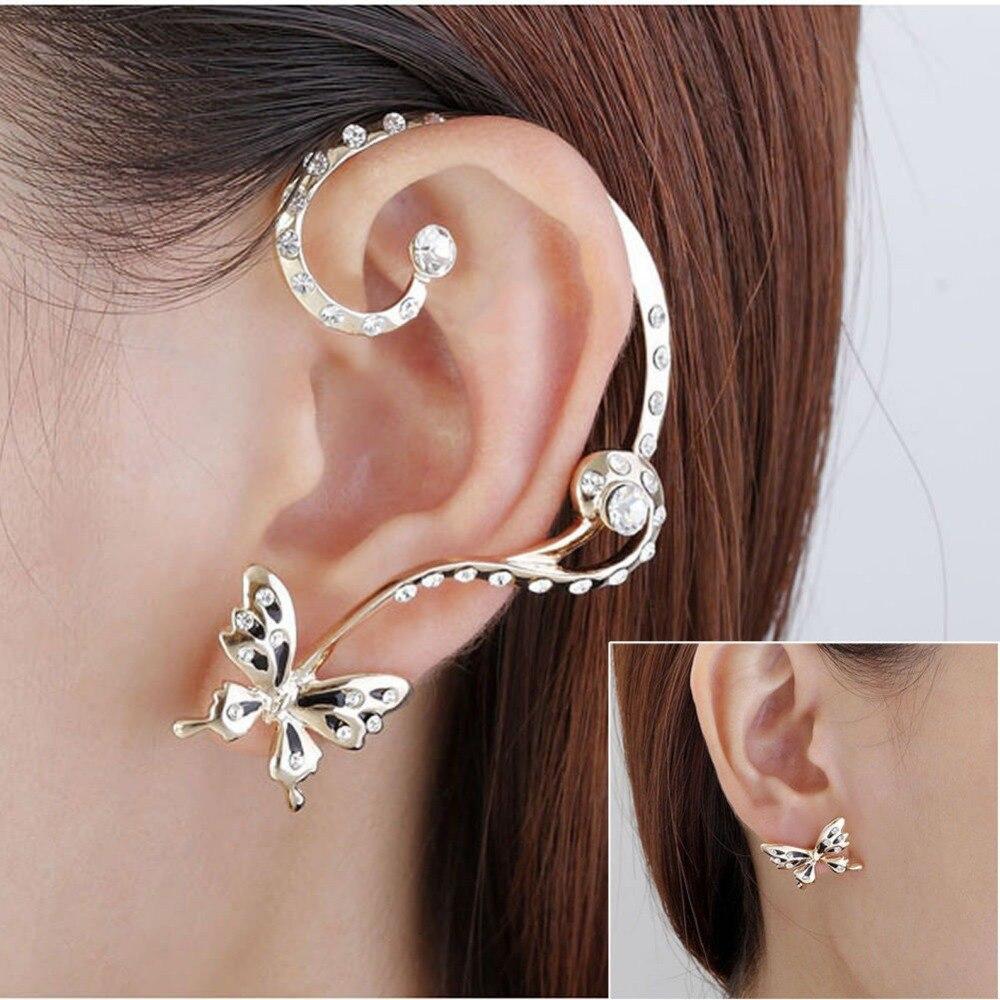 1 pair  Women Ear Cuff Clip Stud Crystal Rhinestone Butterfly Earring Jewelry